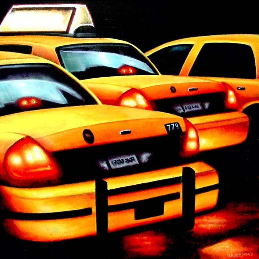"""Rear Lights- Yellow Cabs New York"" original fine art by Gerard Boersma"