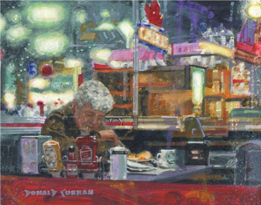 """""""Greasy Spoon Diner"""" original fine art by Donald Curran"""