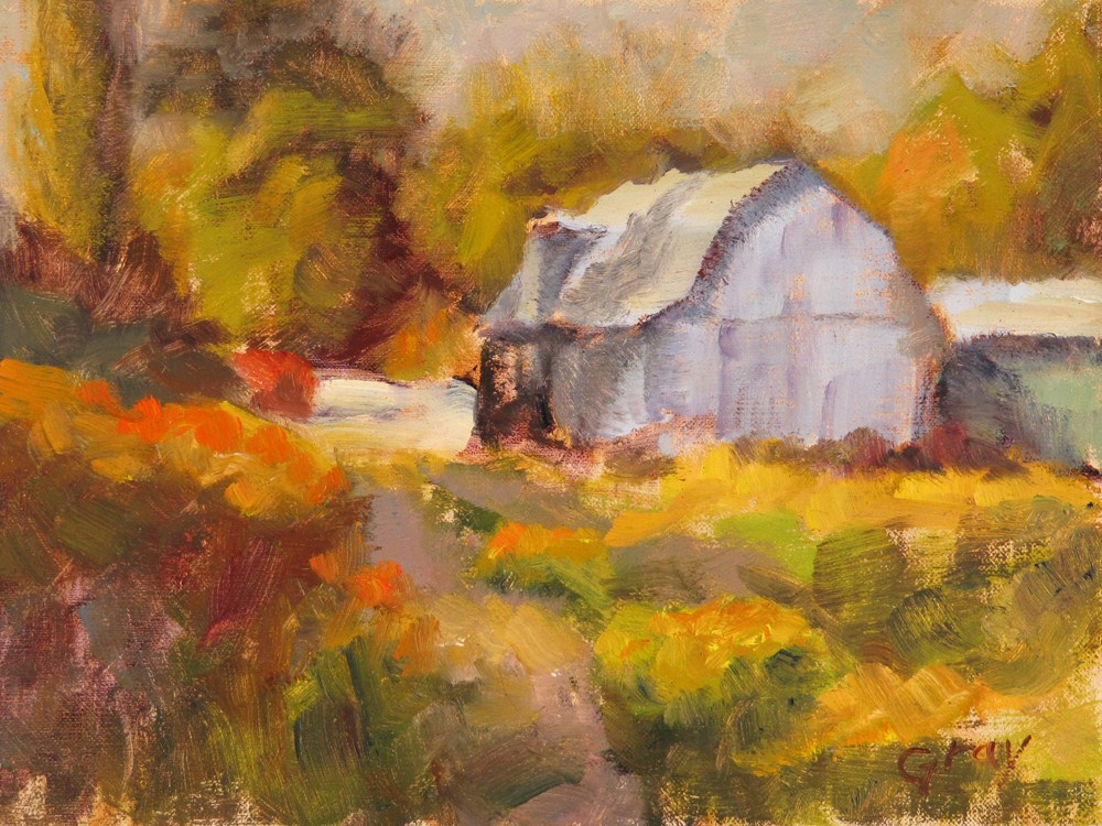"""Barn at the Dairy Farm"" original fine art by Naomi Gray"