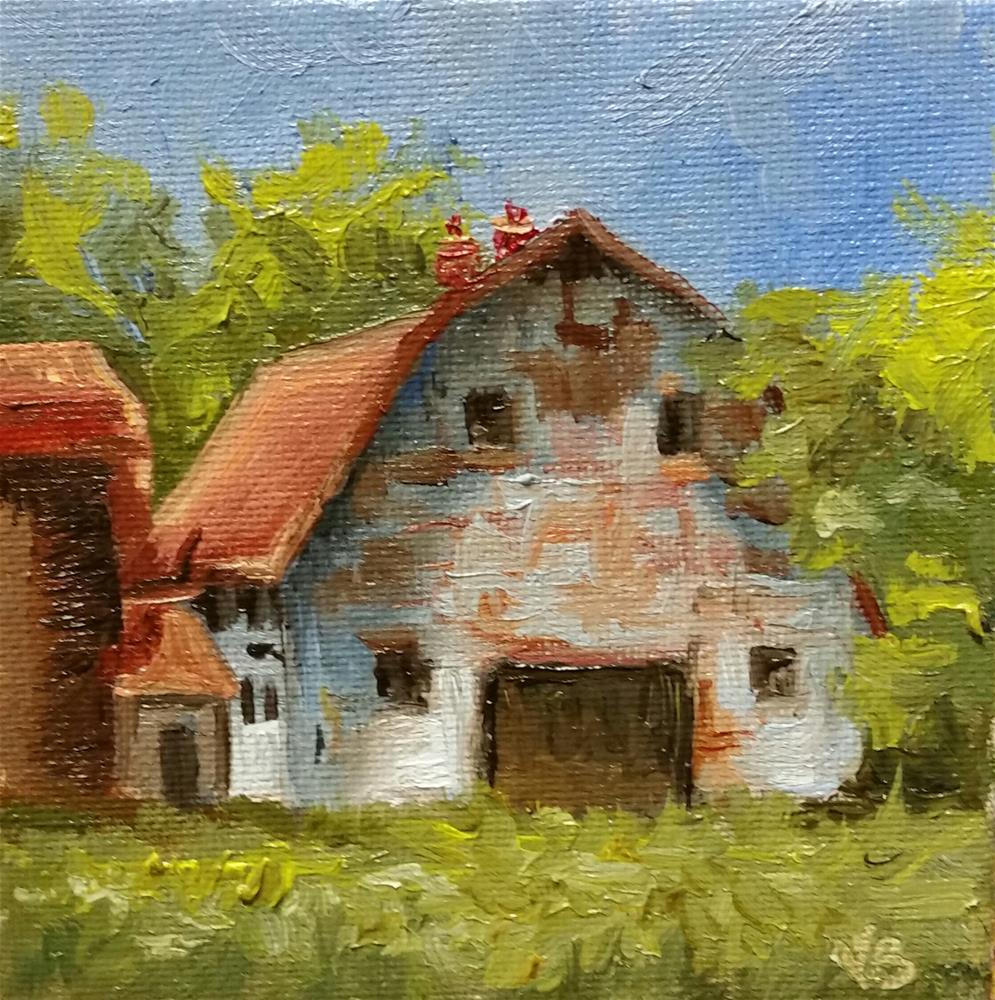 """""""Red Roof-barn mini painting"""" original fine art by Veronica Brown"""