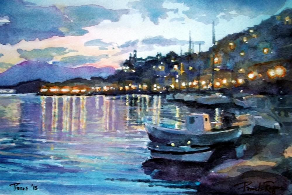 """Twilight, Poros Island"" original fine art by Pamela Jane Rogers"