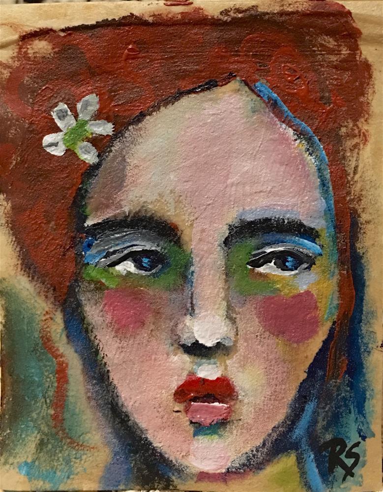 """""""Tea Bag Portrait - Josie"""" original fine art by Roberta Schmidt"""