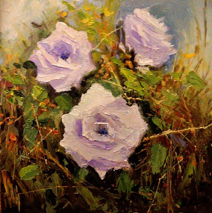 """Three White Roses"" original fine art by Bob Kimball"