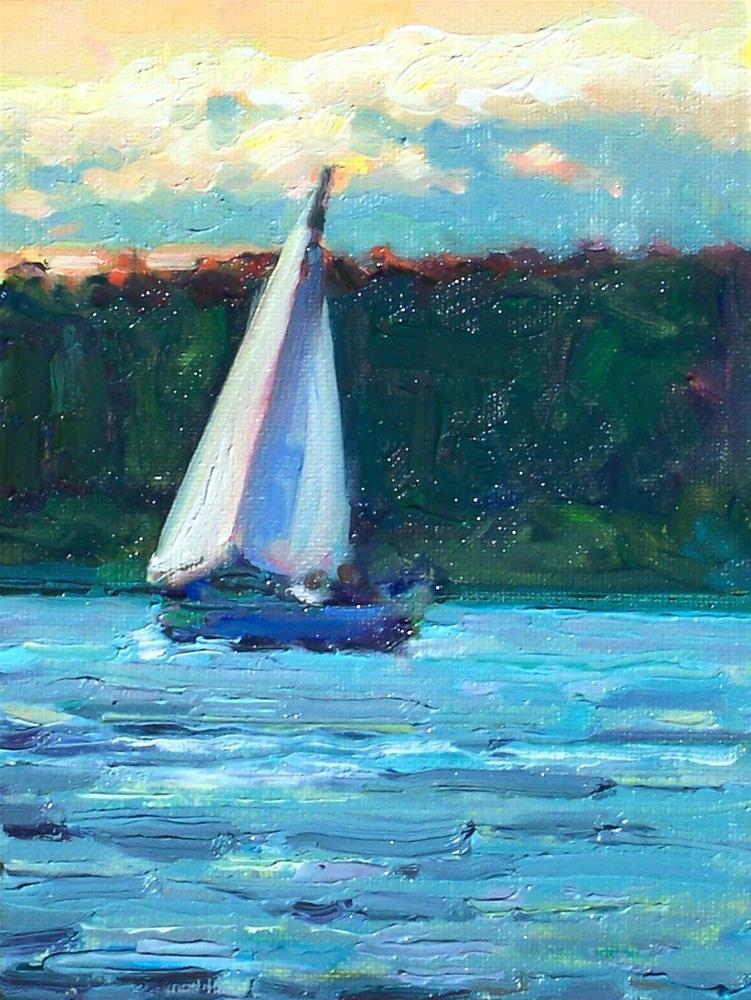 """Returning Home,seascape,oil on canvas,9x12,priceNFS"" original fine art by Joy Olney"