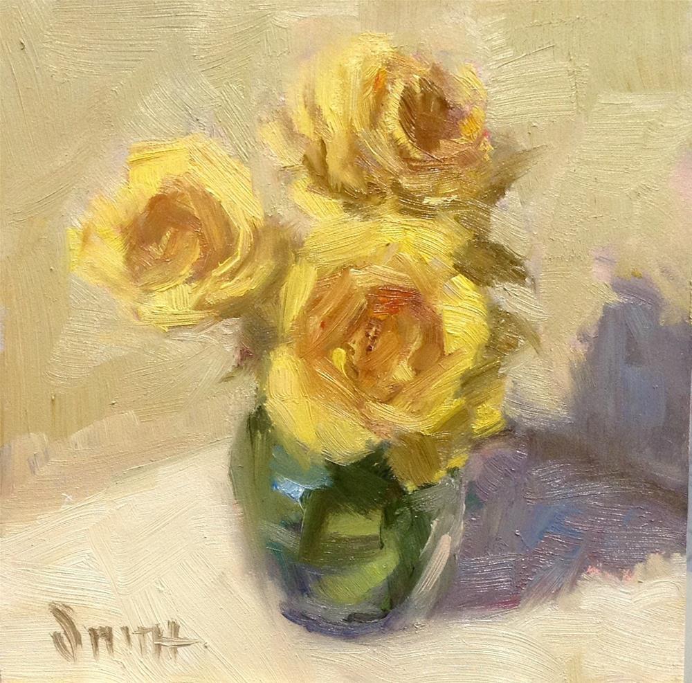 """Yellow Rose Trio"" original fine art by Barbie Smith"