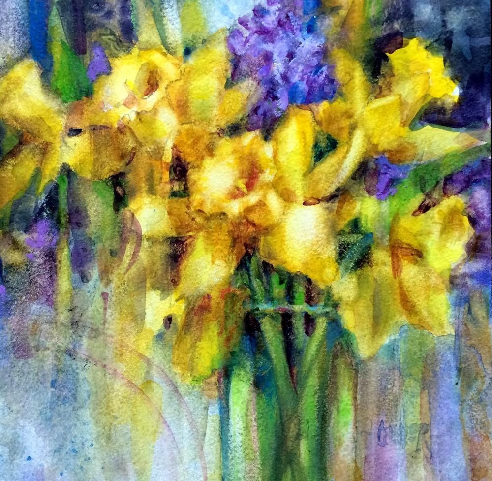 """""""Watercolor Daffodils"""" original fine art by Julie Ford Oliver"""
