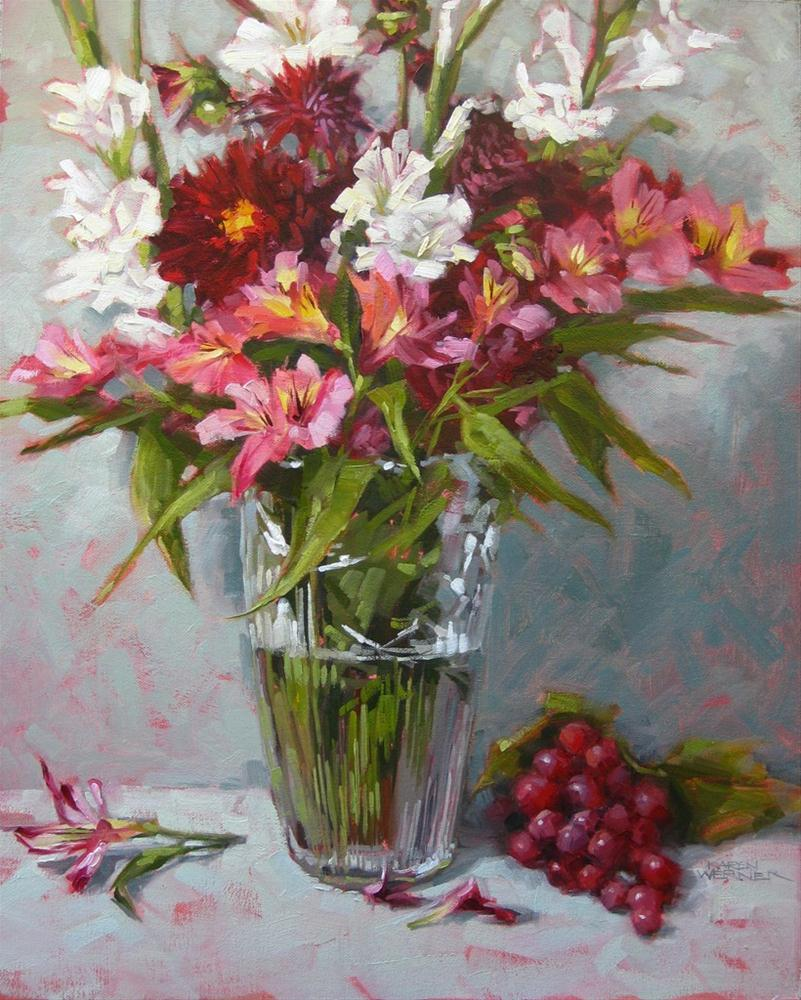"""Crimson Floral"" original fine art by Karen Werner"