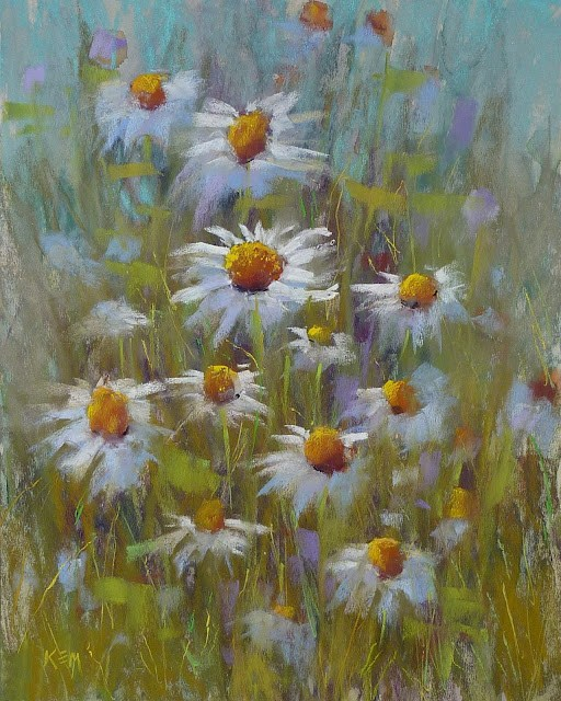 """Daisies in the Meadow pastel"" original fine art by Karen Margulis"