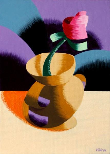 """Mark Webster - Rough Futurist Rose in Vase Still Life Oil Painting"" original fine art by Mark Webster"