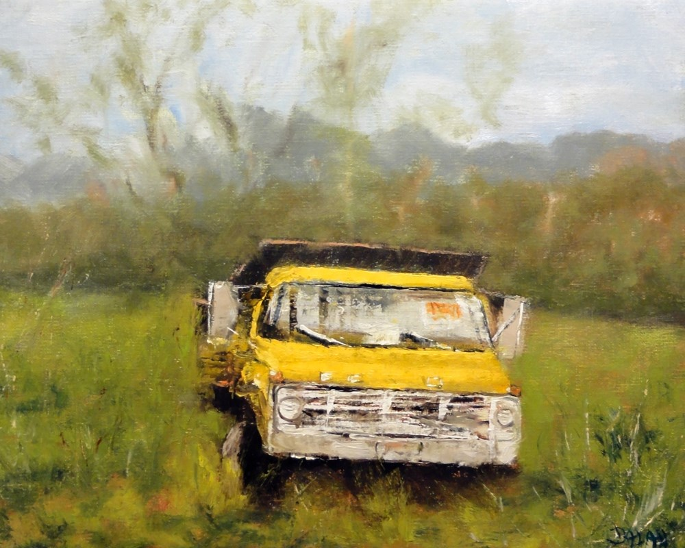 """Old Yellow Truck For Sale"" original fine art by Dalan Wells"
