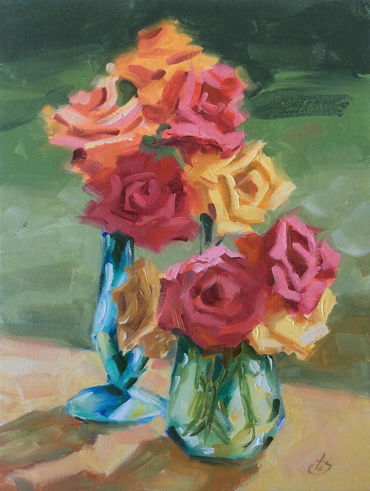 """SUNLIT FLOWERS"" original fine art by Tom Brown"