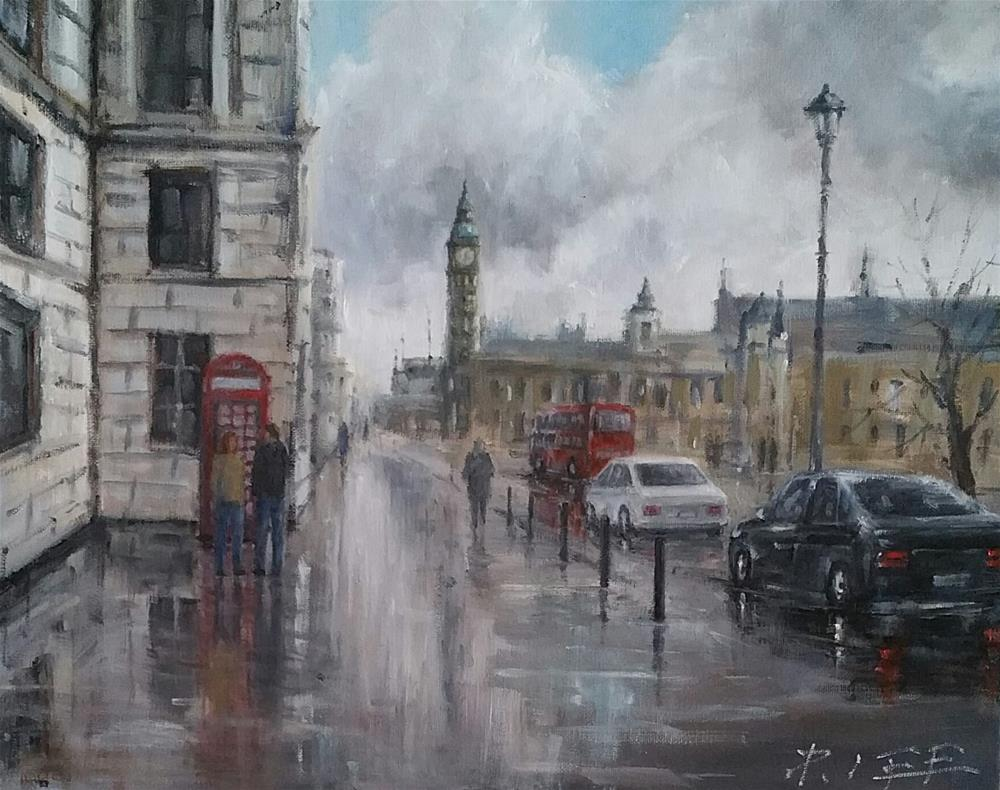 """After rain in London"" original fine art by Peter Lee"