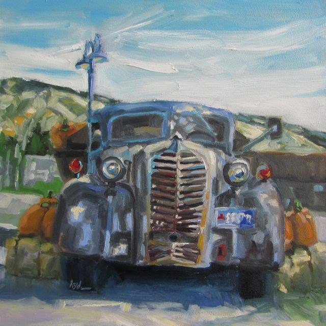 """SCHRAGE'S PUMPKIN TRUCK"" original fine art by Mb Warner"