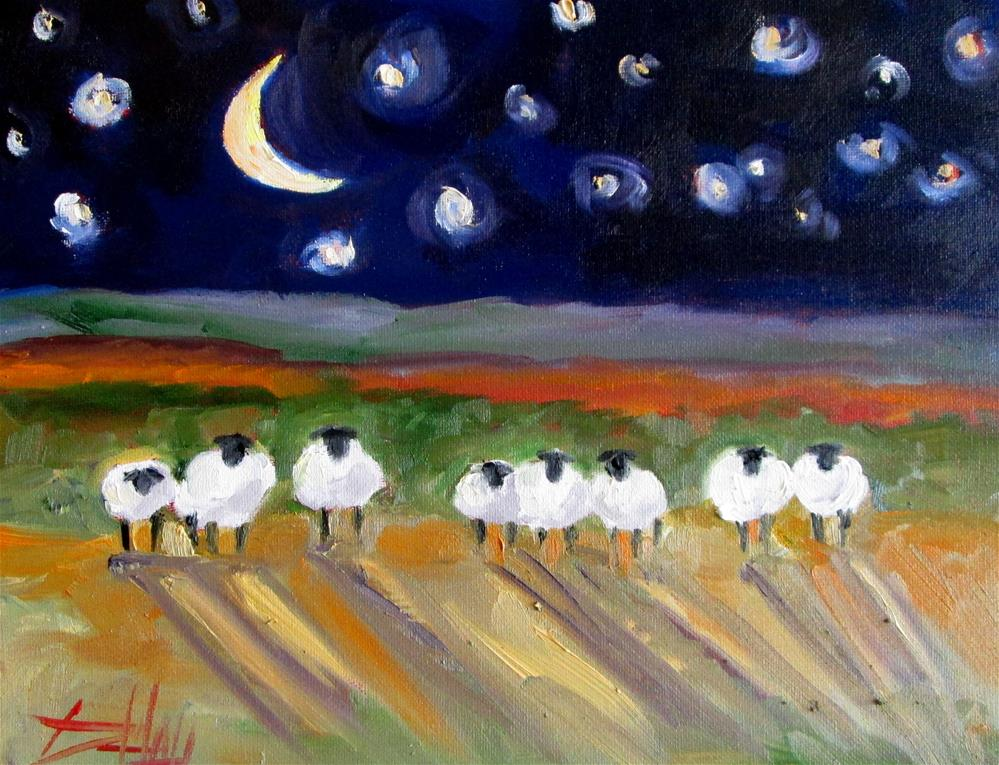 """Moon Light Sheep No. 3"" original fine art by Delilah Smith"