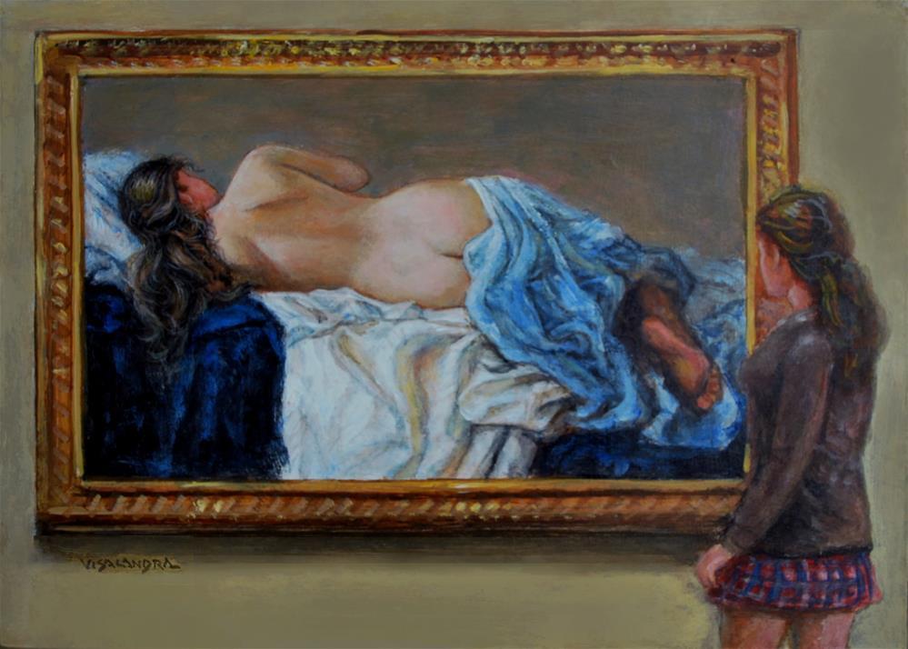 """museum visitor 16"" original fine art by vishalandra dakur"