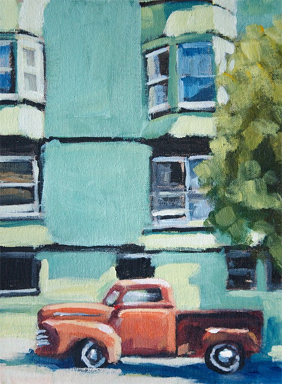 """Red Truck Green Building"" original fine art by J. Farnsworth"
