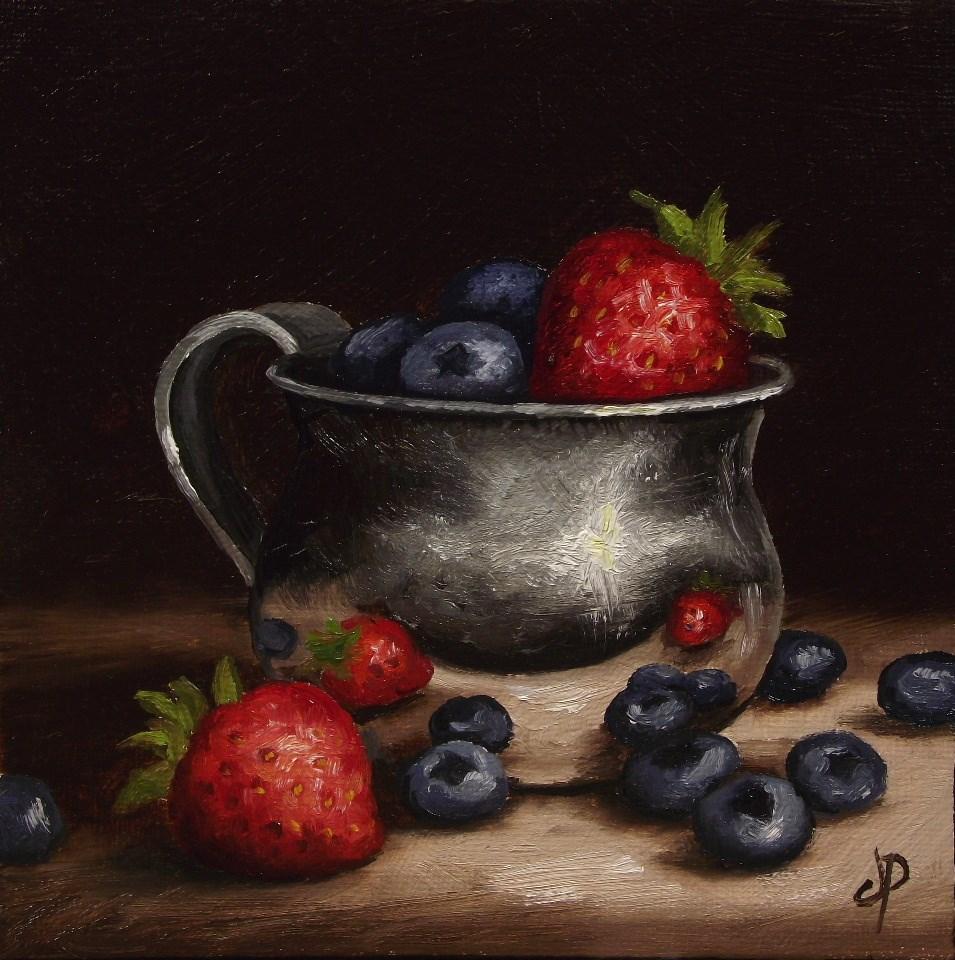 """""""Berries in a cup"""" original fine art by Jane Palmer"""
