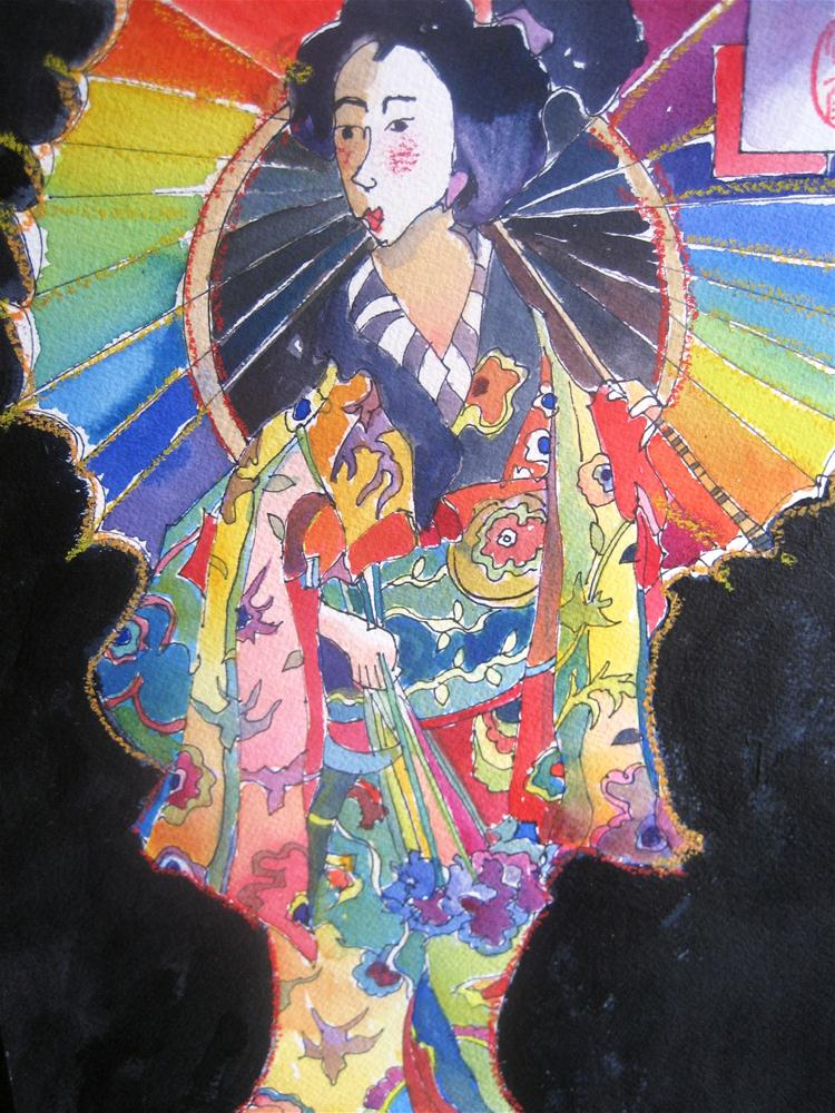 """Colorful Kimono"" original fine art by Scarlet Owl Studio"
