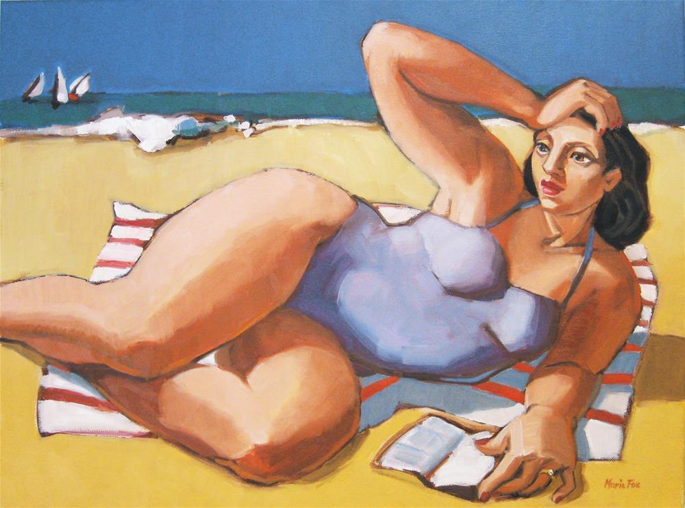 """The Striped Towel, Woman reading at beach"" original fine art by Marie Fox"
