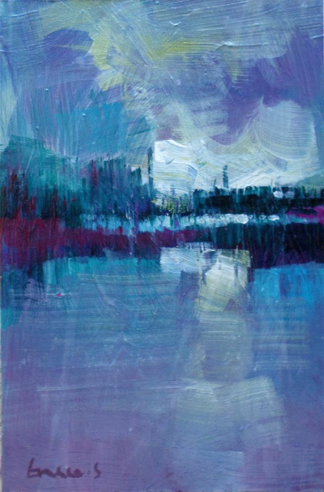 """Mist on the pond 2"" original fine art by salvatore greco"