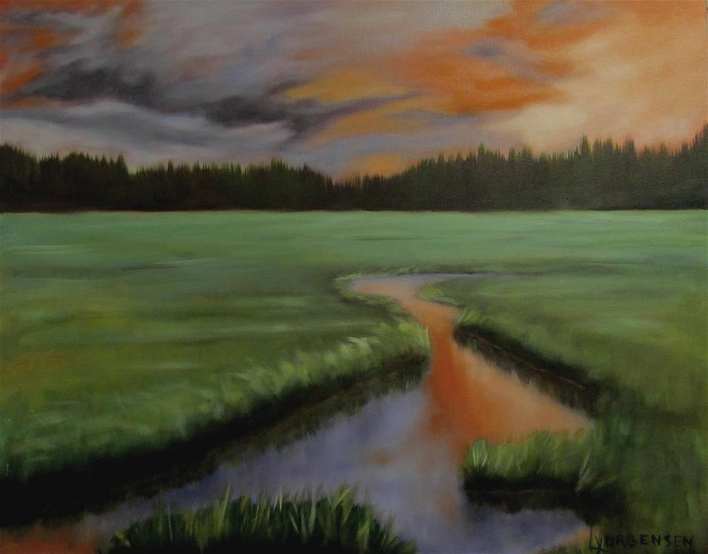 """24 x 30 inch oil Evening on the Estuary"" original fine art by Linda Yurgensen"