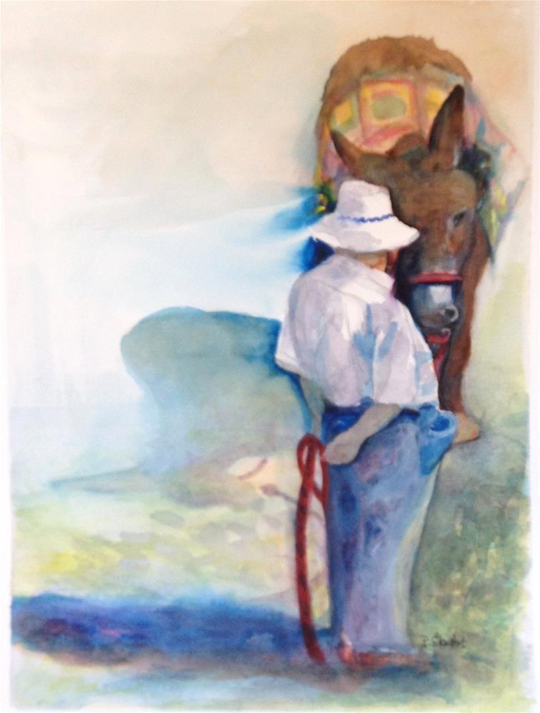 """9x12 Watercolor Man and Donkey Original Painting SFA by Penny Lee StewArt"" original fine art by Penny Lee StewArt"