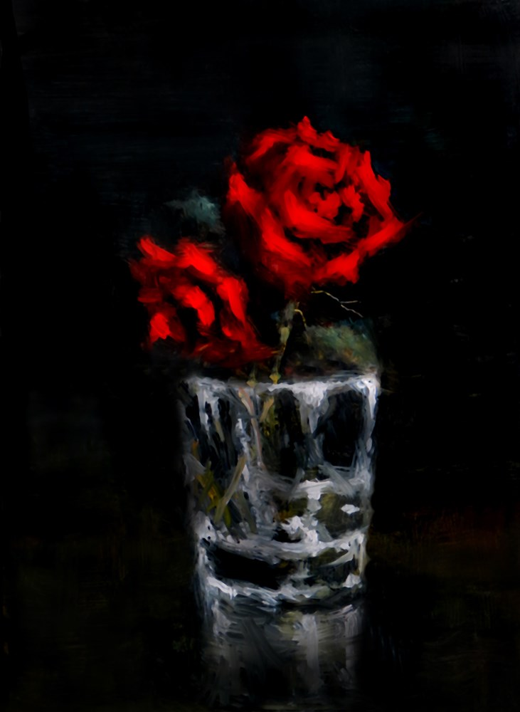 """Roses in a Glass"" original fine art by Bob Kimball"