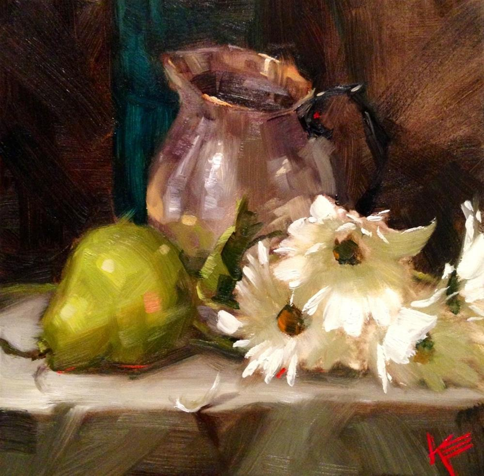 """Coffee Creamer & Daisies"" original fine art by Krista Eaton"