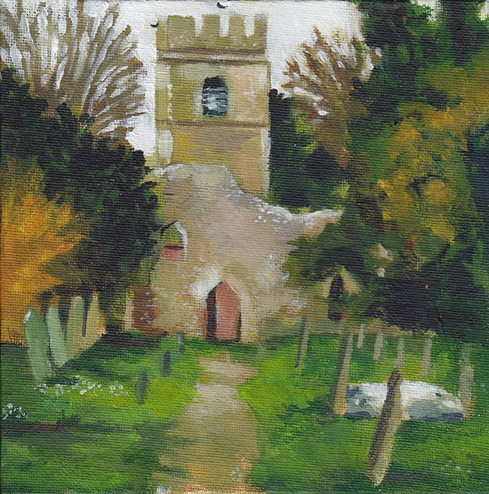 """Old St Lawrence Church, Ayot"" original fine art by J M Needham"
