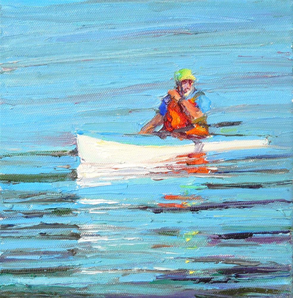"""Whale Watching Kayak,figure,oil on canvas,6x6,price$300"" original fine art by Joy Olney"