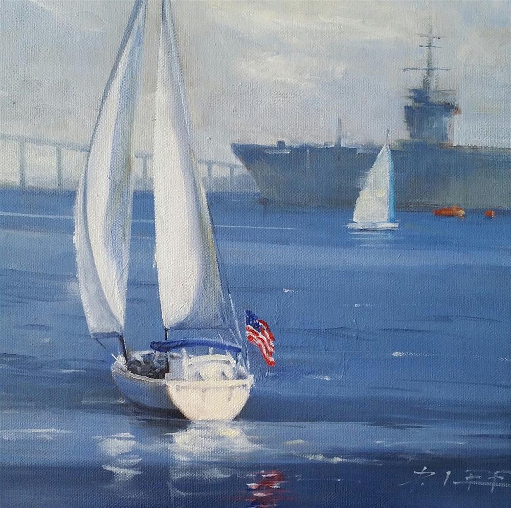 """San Diego Bay"" original fine art by Peter Lee"