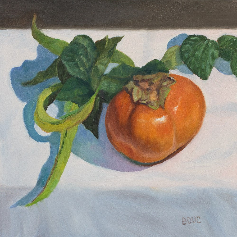 """Persimmon and Green Beans"" original fine art by Jana Bouc"