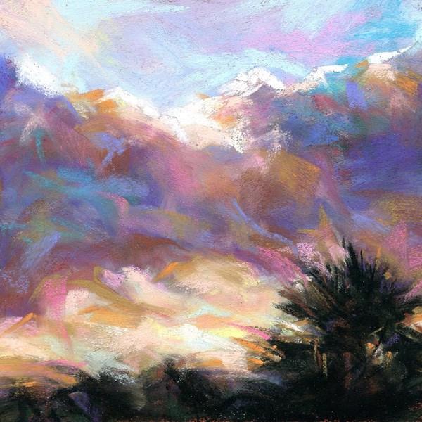 """ONE PALM - 4 1/2 x 4 1/2 sky pastel by Susan Roden"" original fine art by Susan Roden"
