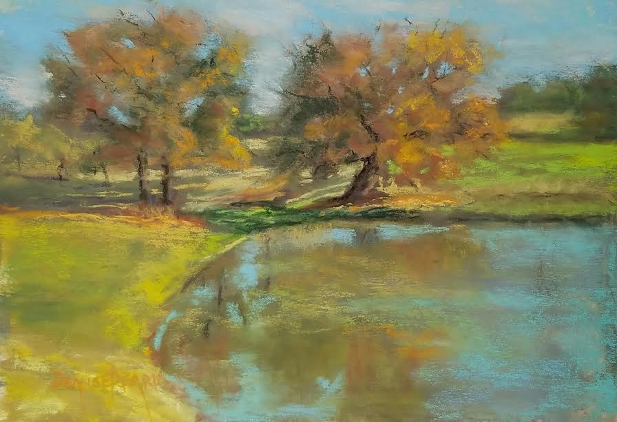 """Autumn Pond"" original fine art by Denise Beard"