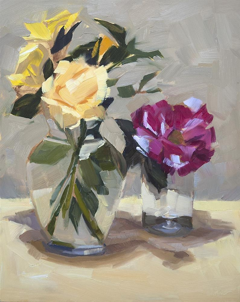 """Garden Roses"" original fine art by Miriam Hill"