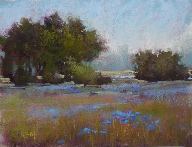"""The Trick for Painting a Flower Meadow in Pastel and Oil"" original fine art by Karen Margulis"