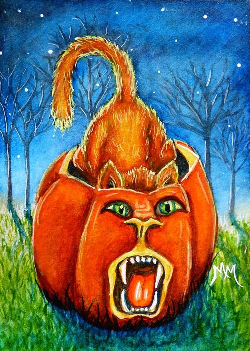 """""""Pumpkin Roar"""" original fine art by Monique Morin Matson"""