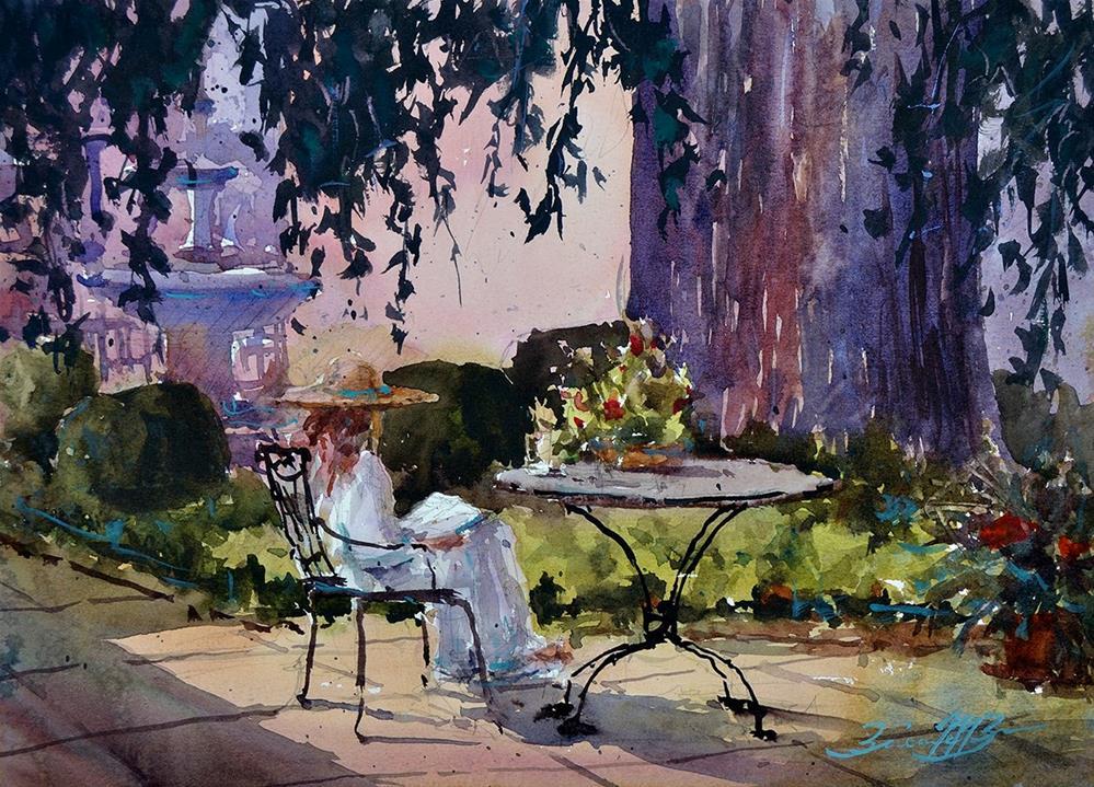 """""""Under the Ginko Tree"""" original fine art by Brienne M Brown"""