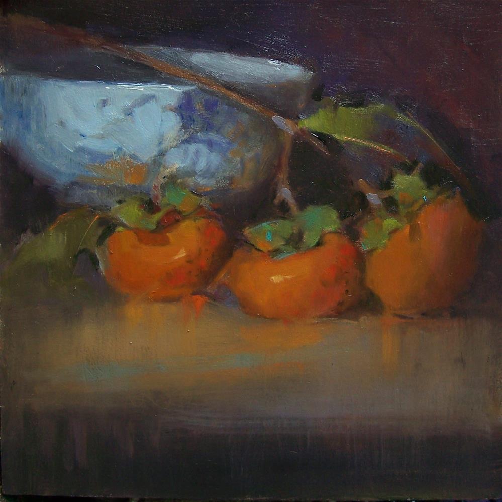 """""""3 Persimmons"""" original fine art by Kim Roberti"""