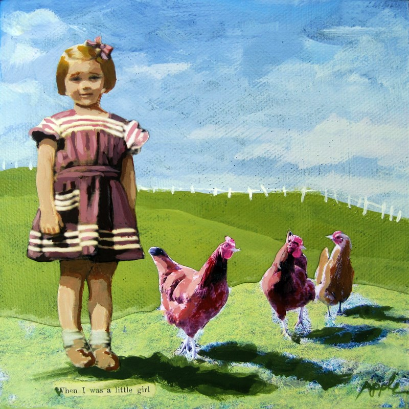 """""""Little Girl with Chickens - vintage era summer Special #2 oil painting"""" original fine art by Linda Apple"""