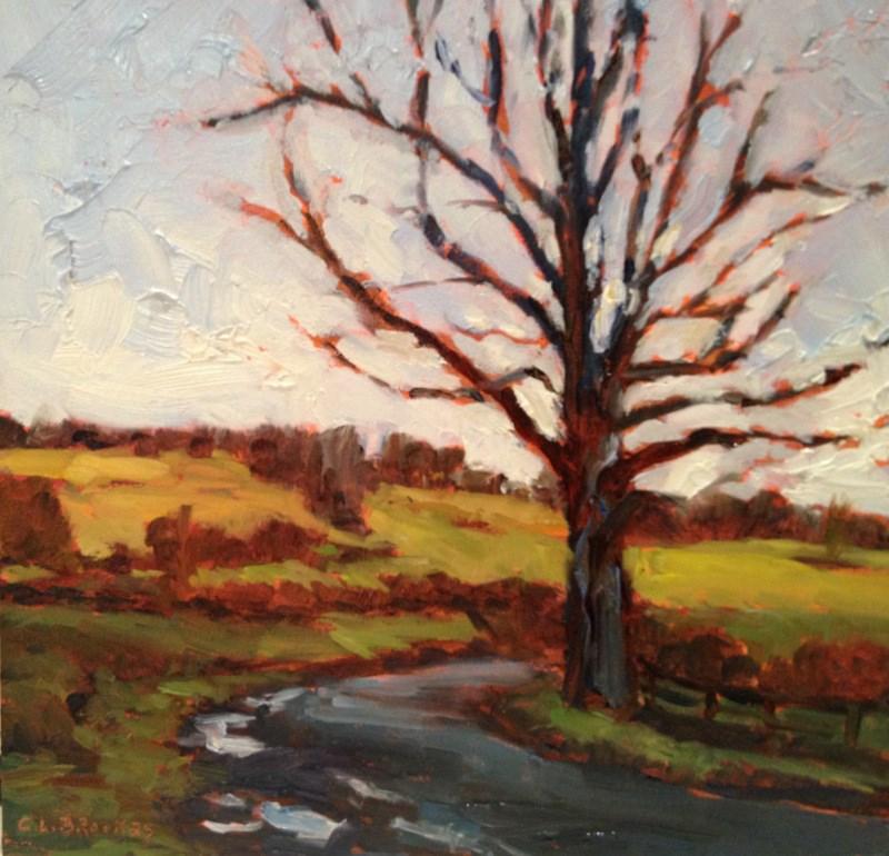 """Tree at Pocock Road Bridge, Day 40"" original fine art by Claudia L Brookes"