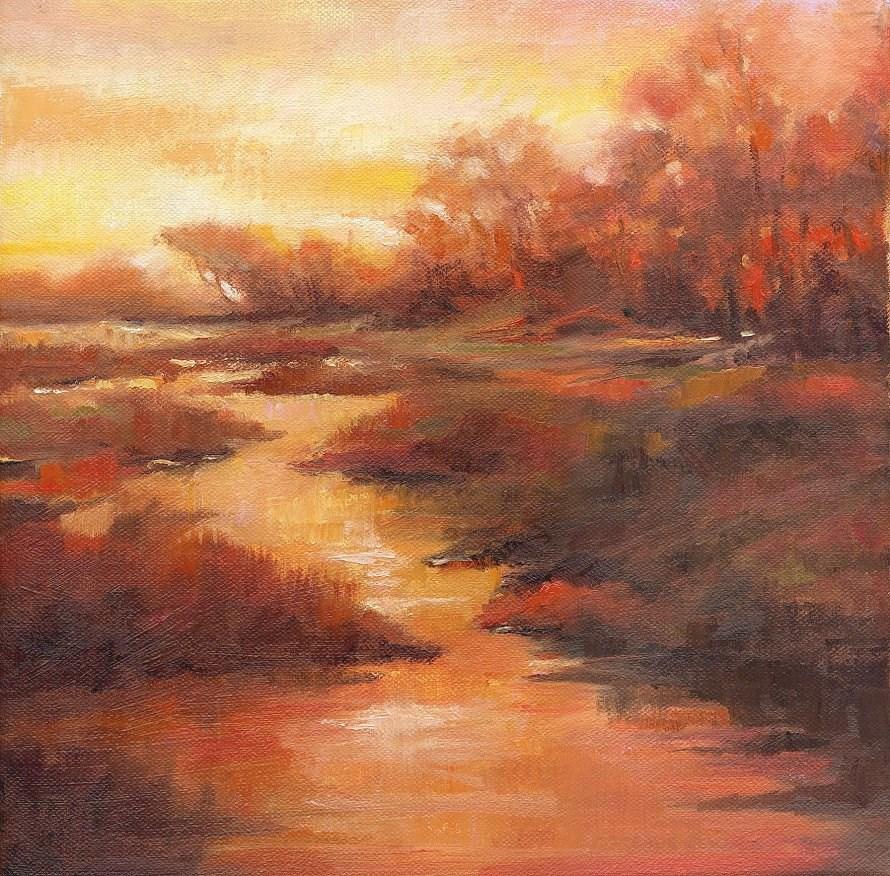 """Sunset Marsh"" original fine art by Connie McLennan"