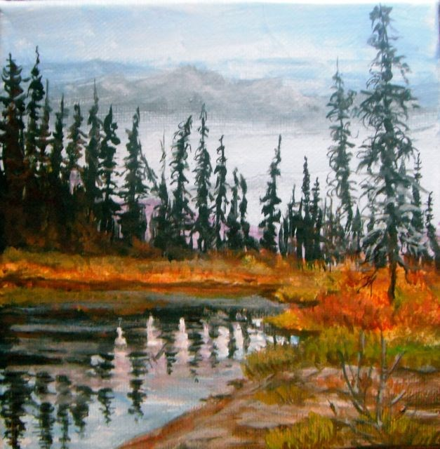 """Autumn Pond on the Mitchell"" original fine art by Jackie Irvine"