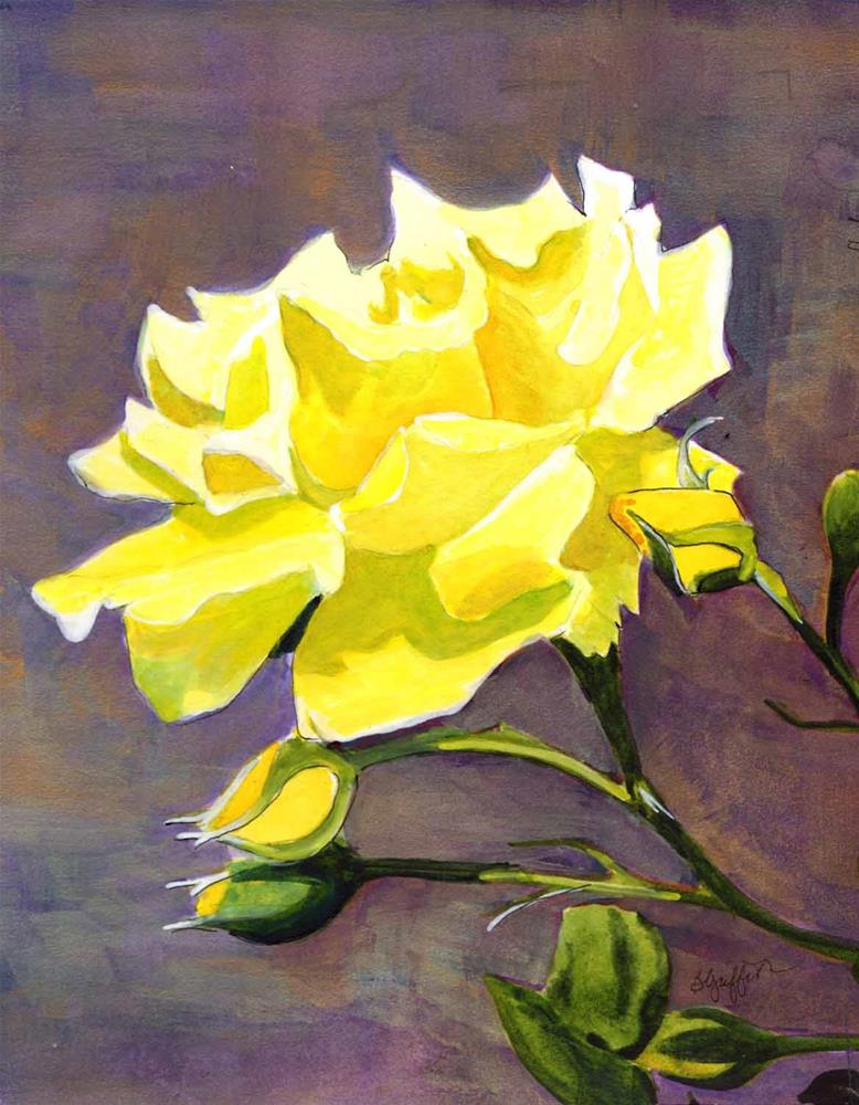 """""""Yellow Rose"""" original fine art by Bunny Griffeth"""