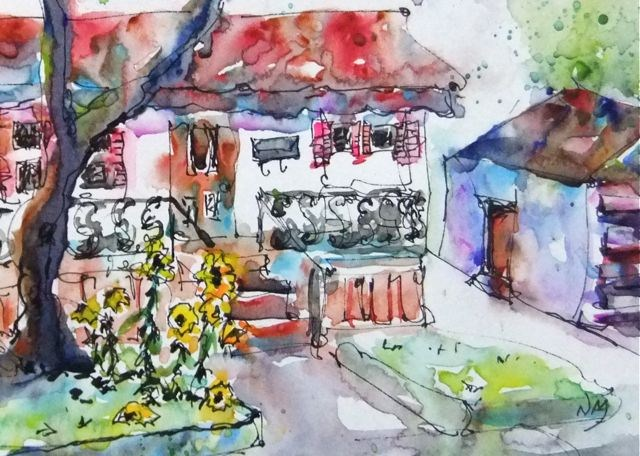 """down the street and around the corner"" original fine art by Nora MacPhail"