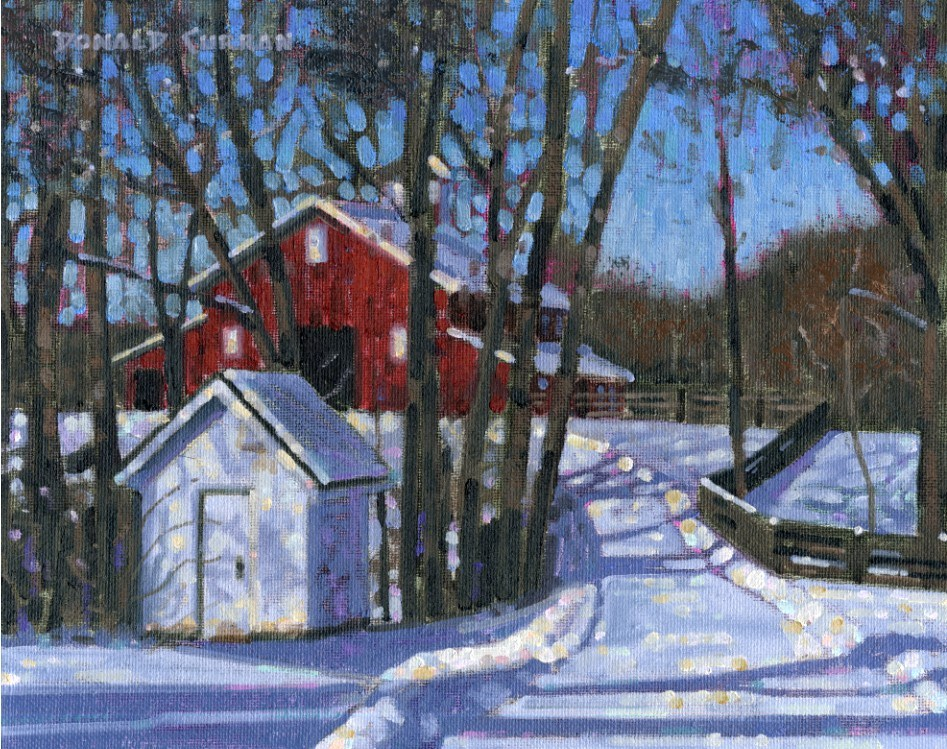 """Winter Farm"" original fine art by Donald Curran"