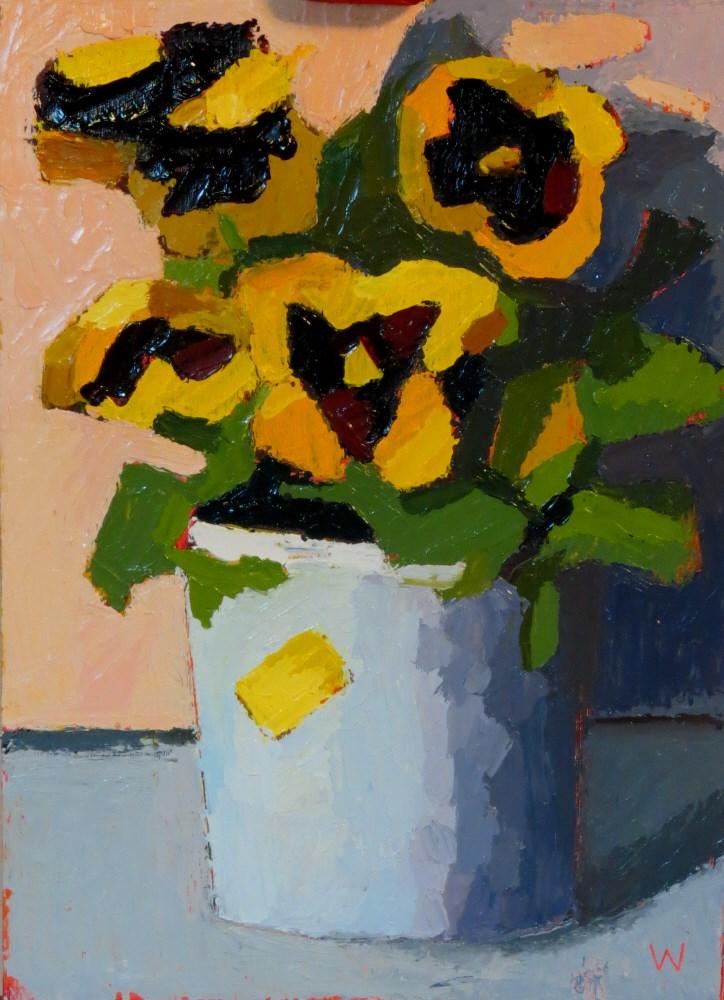 """""""Pansies"""" original fine art by Joan Wiberg"""