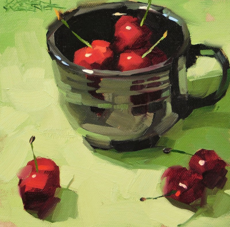 """Cherries In Black"" original fine art by Karen Werner"