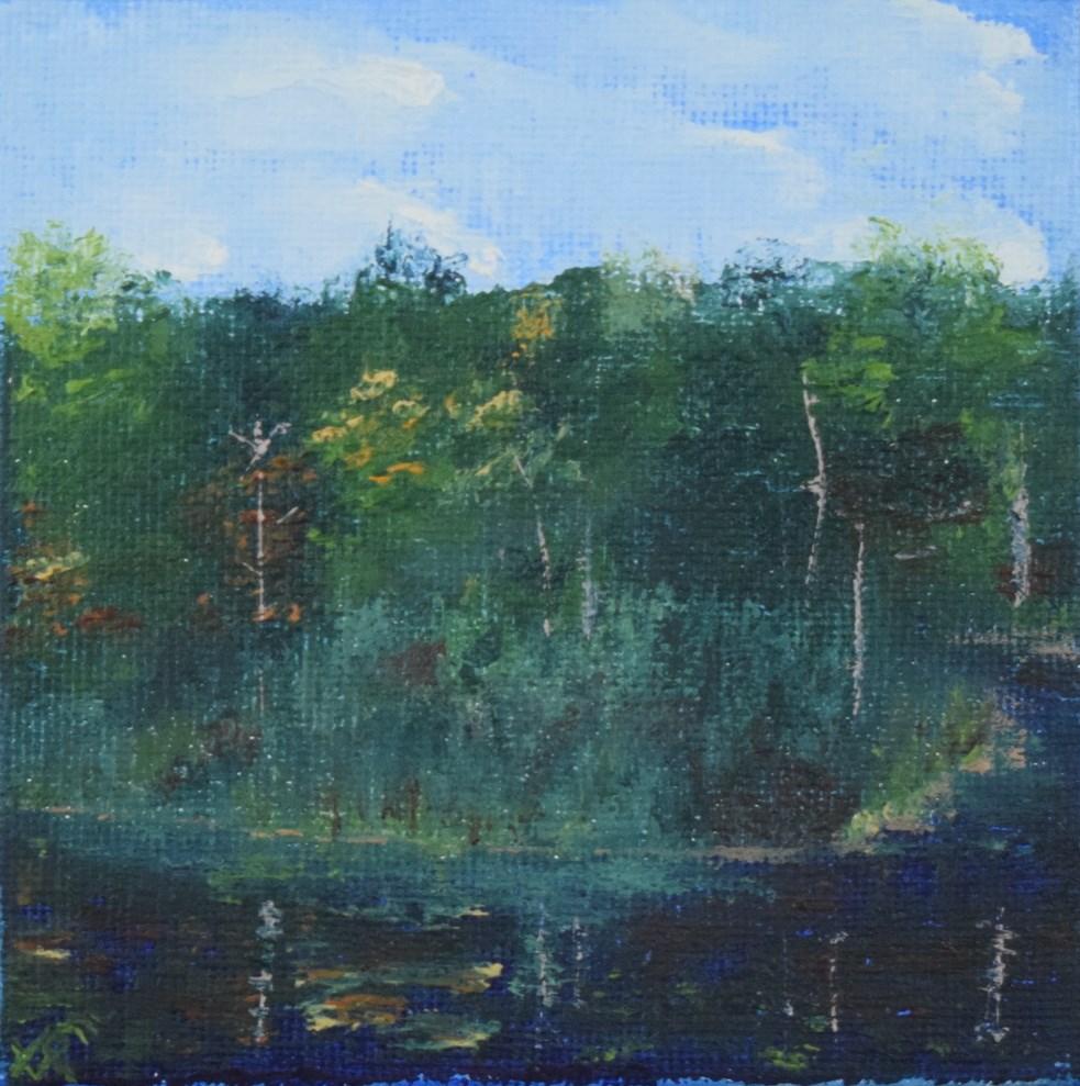 """Round Pond in Autumn, Berkshires, Mini Study 2"" original fine art by Tisha Mark"