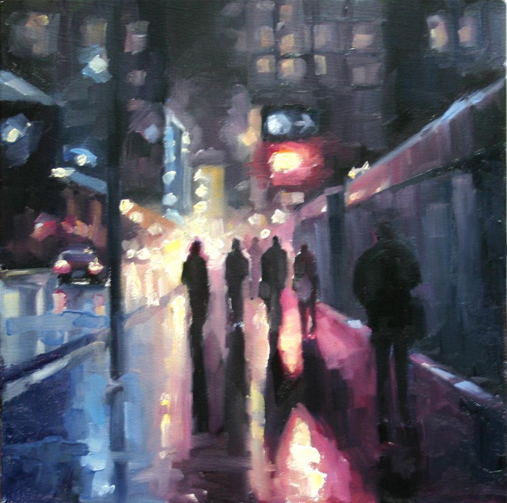 """Night Lights and Wet Snow on Wellington Street"" original fine art by Catherine Jeffrey"